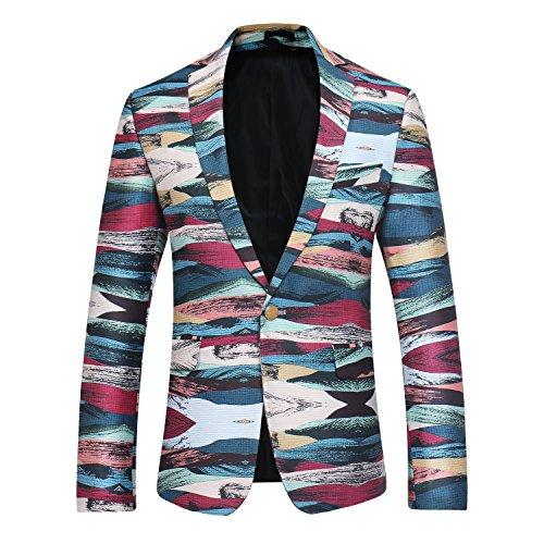 Men's Dinner Jacket One Button Patterned Party Blazer Plaid Sports Coat ()