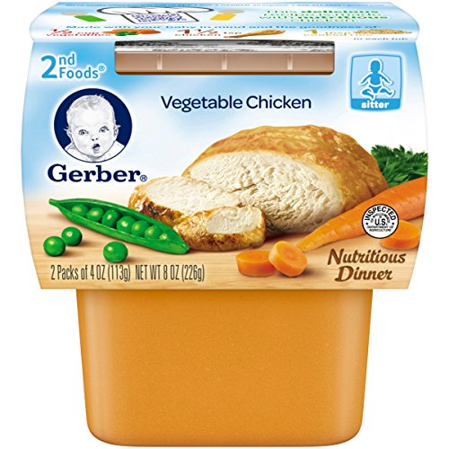 Gerber 2nd Foods Vegetable Chicken, 4 Ounce Tubs, 2 Count (Pack of 8)