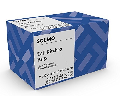 Amazon Brand - Solimo Tall Kitchen Drawstring Trash Bags, Clean Fresh Scent, 13 Gallon, 45 Count