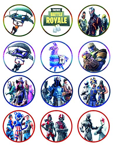 Fortnite Cupcake Toppers Icing Sugar Paper 8.5 x 11.5 Inches Sheet Edible Frosting Photo Birthday Cake Topper (Best Quality Printing)
