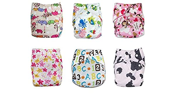Amazon.com : Pañal del paño 6pcs paquete Equipada bolsillo lavable ajustable con 2 Inserciones Cada : Baby