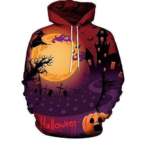 Zainafacai Fashion Print Hoodie- Unisex Realistic 3D Digital Hooded Top Sweatshirt-Happy Halloween 2018/2019 (Orange, -