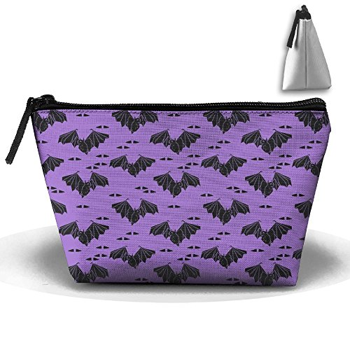 CHC40 Halloween Bat Purple Spooky Scary Cosmetic Bag, Portable Travel Makeup Case Pouch Toiletry Wash (Scary Contact Lenses For Halloween)
