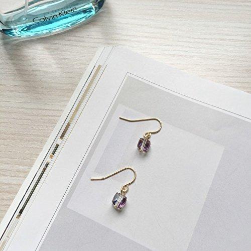 HJPRT (buy two get one) gift select square glass mini sugar cube earrings earings dangler eardrop earrings (7 days) (square earrings (Mini Square Glass Earrings)