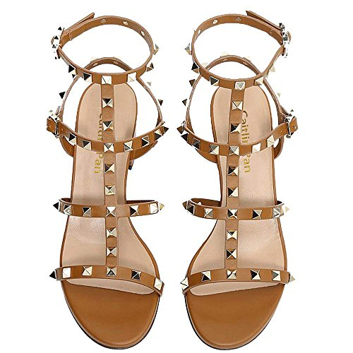 per 35 Slide con Caitlin Sandals Heels Open Cammello con Borchie Sandali Slipper Pan Chunky 5cm Donna Borchie Toe Fibbia Heel EU Mid Dress Block 45 UrnH6tHqx