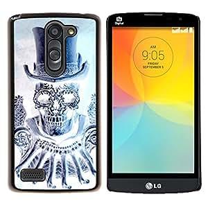 """LG L Prime / L Prime Dual Chip D337 , JackGot - Impreso colorido protector duro espalda Funda piel de Shell (Cráneo del diamante del sombrero de copa de Bling de la Muerte"""")"""