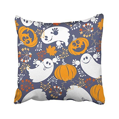 Emvency Blue Abstract with Cute Ghosts and Fun Pumpkins Halloween Orange Airy Autumn Cartoon Costume Dead Draw Throw Pillow Covers 20x20 Inch Decorative Cover Pillowcase Cases Case Two Side]()