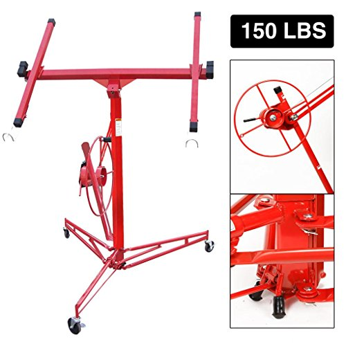 Artist Hand 11' Drywall Lift Rolling Panel Hoist Jack Lifter Construction Caster Wheels Lockable Tool Red