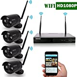 Cheap OOSSXX 8-Channel HD 1080P Wireless Network/IP Security Camera System(IP Wireless WIFI NVR Kits),4Pcs 2.0 Megapixel Wireless Indoor/Outdoor IR Bullet IP Cameras,P2P,App, No HDD