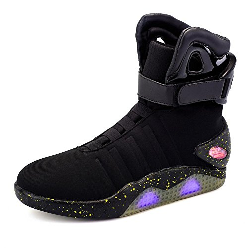 Green Hope-Rise Field Men' Fabric LED Flashing High-Top Shoes Light Up Sneakers DQBF95-Black-45