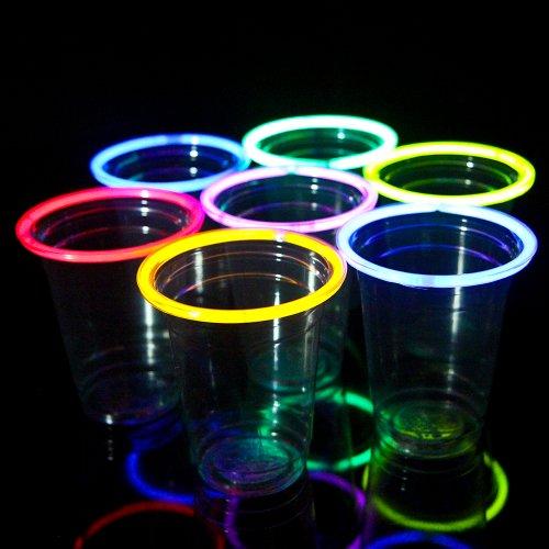 24 Glow Stick Party Cups, 16-18 Oz. (6 Color Mix)