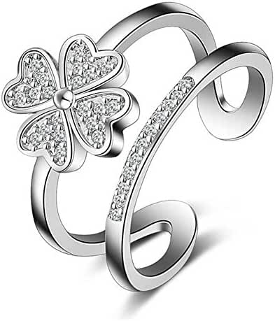 """Showfay """"Lucky Clover"""" 925 Silver Plated and AAA Zircon Adjustable Ring Open Ring"""