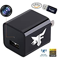 [UPGRADED] Hidden Camera Phone Charger - Stealth Nanny Cam with 32GB Removable Memory & Motion Detection - Perfect for Hotel Office Nursing Home Surveillance