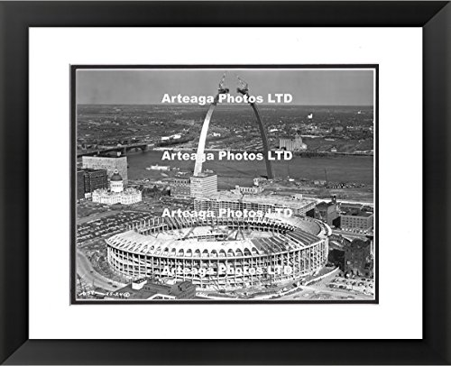 Busch Stadium and Gateway Arch Construction in 1965 - Original Photography Print - Arteaga Photos - 24''x28'' Framed Double Matted Print by Arteaga Photos