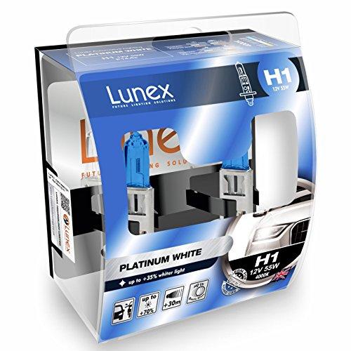 LUNEX H1 448 PLATINUM WHITE Headlight Halogen Bulbs 12V 55W P14,5s +35% whiter light 4000K duobox (2 units)