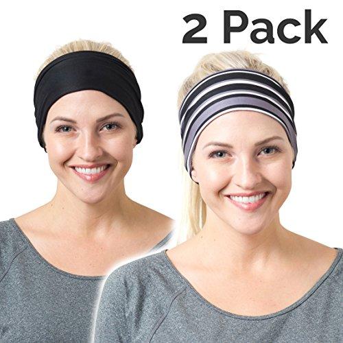 RiptGear Running Headband Black Solid and Striped