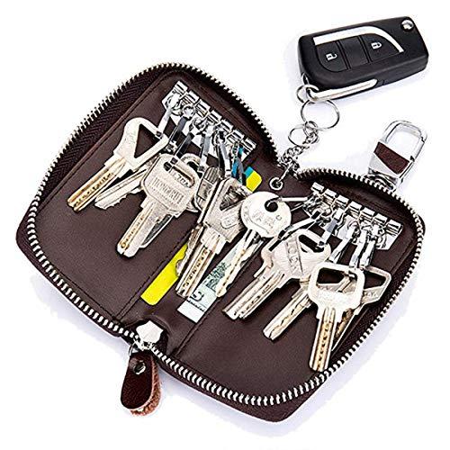 Unisex Large Genuine Leather Key Case Wallet with 12 Hooks & 1 Key chain/Ring - Premium Leather Car Key Holder Bag (Coffee) -  LERORO