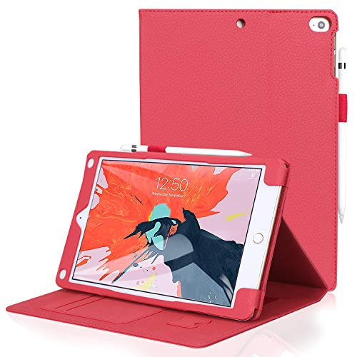 FYY Leather Case with Apple Pencil Holder for iPad Air 2/iPad Air/iPad 9.7 2017/2018 - Folio Flip Wallet Case Smart Cover with Hand Strap Card Slots for Apple iPad Air 2/Air/iPad 9.7 2017/2018 Red