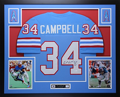 Earl Campbell Autographed Blue Oilers Jersey - Beautifully Matted and  Framed - Hand Signed By Earl 97883c141