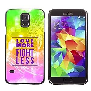Planetar® ( Bible Verse-LOVE MORE - FIGHT LESS ) Samsung Galaxy S5 V / i9600 / SM-G900 Fundas Cover Cubre Hard Case Cover