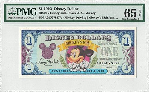 Disney Dollar 1993 $1 Mickey's 65th A02507817A PMG 65 EPQ Gem (Pmg 65 Gem)