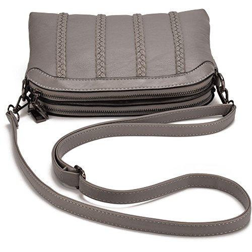handbags Shoulder PU bag Crossbody Grey bag Leather Women Twin JIARUO Double purse Pocket wxqvO5P
