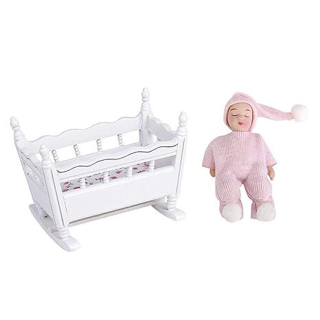 Agordo Dollhouse Miniature Furniture Wooden Nursery Crib Sleeping Baby Doll  1:12