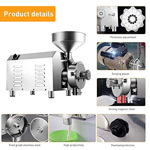 Large Commercial Grain Grinding Industrial Machine Electric Beer Grain Mill Grinder Nutri Mill Flour Motorized Stainless Steel Barley Crusher for Wheat Corn Coffee Pepper Soybean, 30-50kg/h (2200W) by Rbaysale (Image #3)