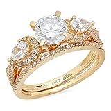 Clara Pucci 1.9 CT Round And Pear Cut Pave Halo Bridal Engagement Wedding Ring band set 14k Yellow Gold