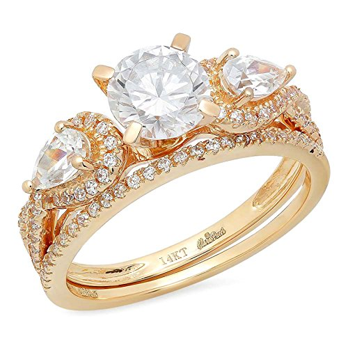 - 1.94ct Round Pear Cut Solitaire 3 stone With Accent VVS1 Ideal D Moissanite & Simulated Diamond Engagement Promise Designer Anniversary Wedding Bridal ring band set 14k Yellow Gold Sz 7