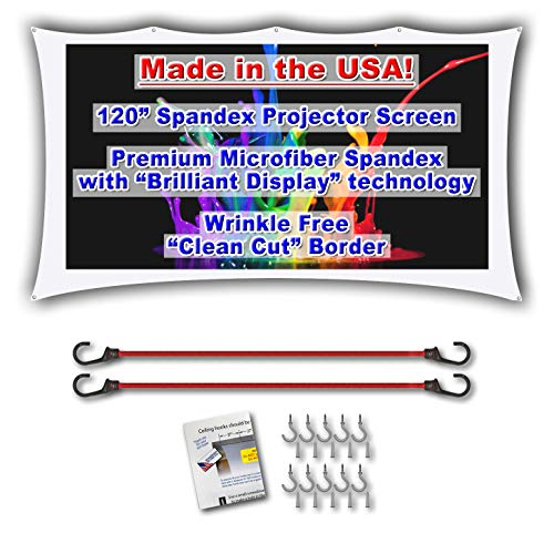 120 inch Portable Spandex Projector Screen. Complete Kit Includes 5x9 Stretch Fabric Material & Hardware for Indoor or Outdoor Back Yard Movie Screen use. 3D DLP Ready with Both Front & Rear Projec