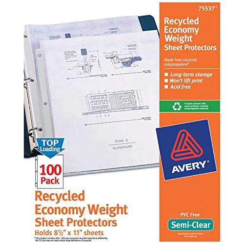 Avery Recycled Semi-Clear Sheet Protectors, 8.5