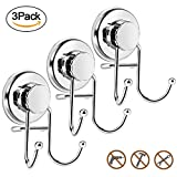 ShaWuJing Suction Cup Hooks, Powerful Vacuum Shower Towel Hook Holder, Strong Stainless Steel Hooks for Bathroom & Kitchen,Towel Hanger Storage,Bath robe, Coat, Loofah,Chrome (3 Pack) (3Pack-Silver)