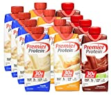 Premier Protein High Protein Shakes, Variety Pack (Vanilla, Chocolate, Caramel), 11oz Each, Pack of 12
