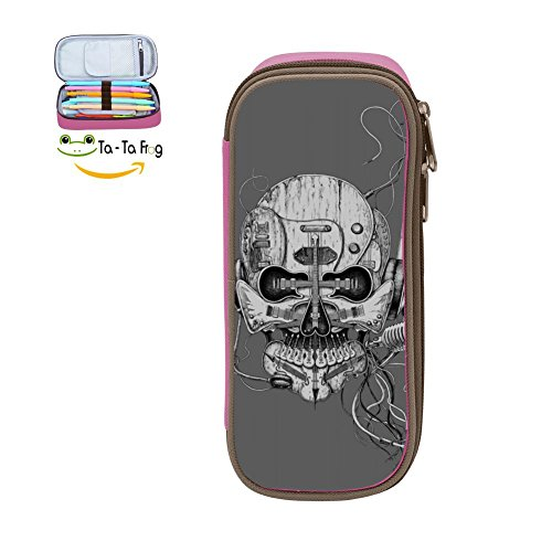 PenStar-Punk Rocker Skull Pen Pencil Case Large Capacity Stationery Box multi-function Storage Bag For Students-Pink ()