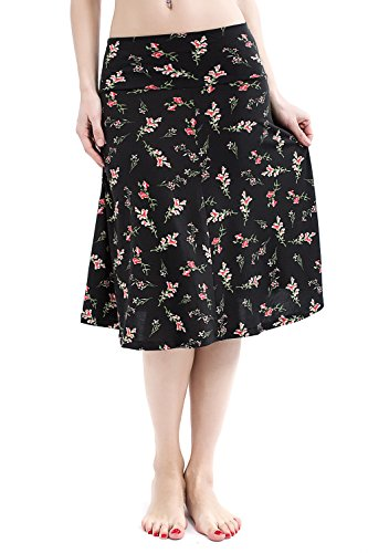 Deeyomi Women's High Waist Fold-Over Floral Print Stretch Midi Summer Skirts