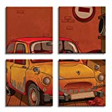 JP London 4 Panels 14in 4 Huge Gallery Wrap Canvas Wall Art Cartoon VW Punch Buggy Mystery Machine At Overall 28in QDCNV2215