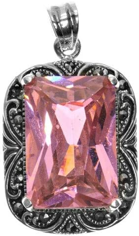 Glitzs Jewels 925 Sterling Silver Simulated Marcasite Pendant for Necklace Pink CZ