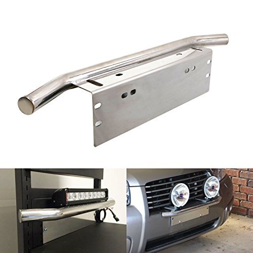 iJDMTOY Bull Bar Style Stainless Steel Front Bumper License Plate Mount Bracket Holder For Off-Road Lights, LED Work Lamps, LED Lighting Bars, etc (Chrome, Universal Fit)