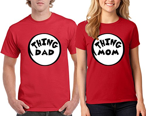 Thing DAD and Thing MOM The Cat in the Hat Design Couple Round Neck T-Shirt (Cat In The Hat Thing 1)