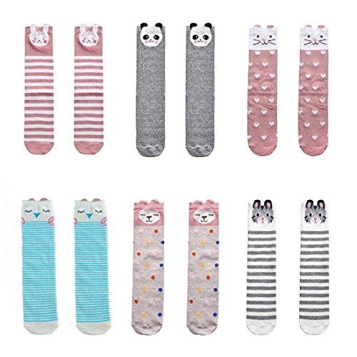 Socks Kids Tall (NUZIKU Toddler Girls Knee High Socks - Child Kids Cartoon Animal Warm Cotton Over Calf 6 Pairs Stockings (Medium, 6 Pairs))