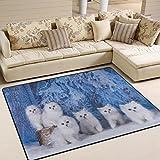 ALAZA Winter White Cat Kitten Area Rug Rugs for Living Room Bedroom 7′ x 5′ For Sale