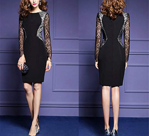 Dress Party Party Women Dress Cocktail Lace Long Sleeve 123 SYGoodBUY Evening Black Elegant q6twaTq