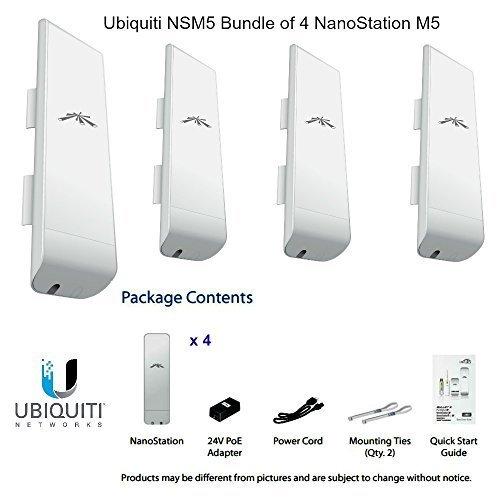 Ubiquiti NSM5 Bundle of 4 NanoStation M5 5GHz Outdoor airMAX CPE 150+Mbps 15+km by Ubiquiti Networks