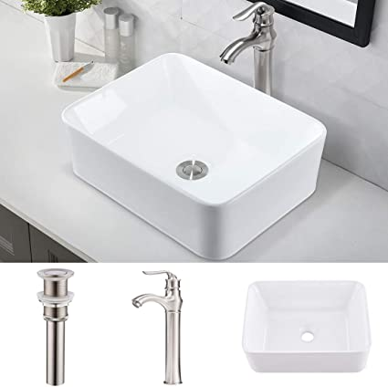Vokim Rectangle Bathroom Sink And Faucet Combo 16 X12 Above Counter White Porcelain Ceramic Bathroom Vessel Sink Basin Washing Bowl Set Brushed Nickel Faucet Matching Pop Up Drain Combo