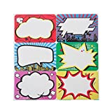 Superhero Name Tags/Labels Perforation Line Design for School Office Home Roll Stickers 240 Pcs (Superhero Name Tags)
