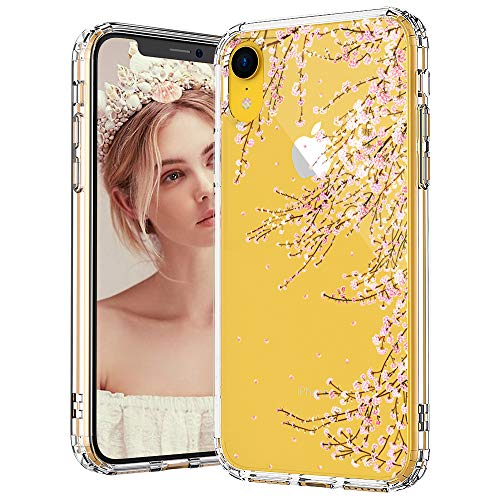 MOSNOVO iPhone XR Case, Clear iPhone XR Case, Cherry Blossom Floral Flower Pattern Clear Design Transparent Plastic Hard Back Case with Soft TPU Bumper Protective Case Cover for Apple iPhone XR