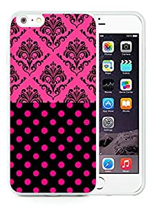 Fashion iPhone 6 Plus Case,Damascos Negros Sobre Fucsia White iPhone 6S Plus 5.5 inches Screen TPU Cover Case Luxury and Cool Design