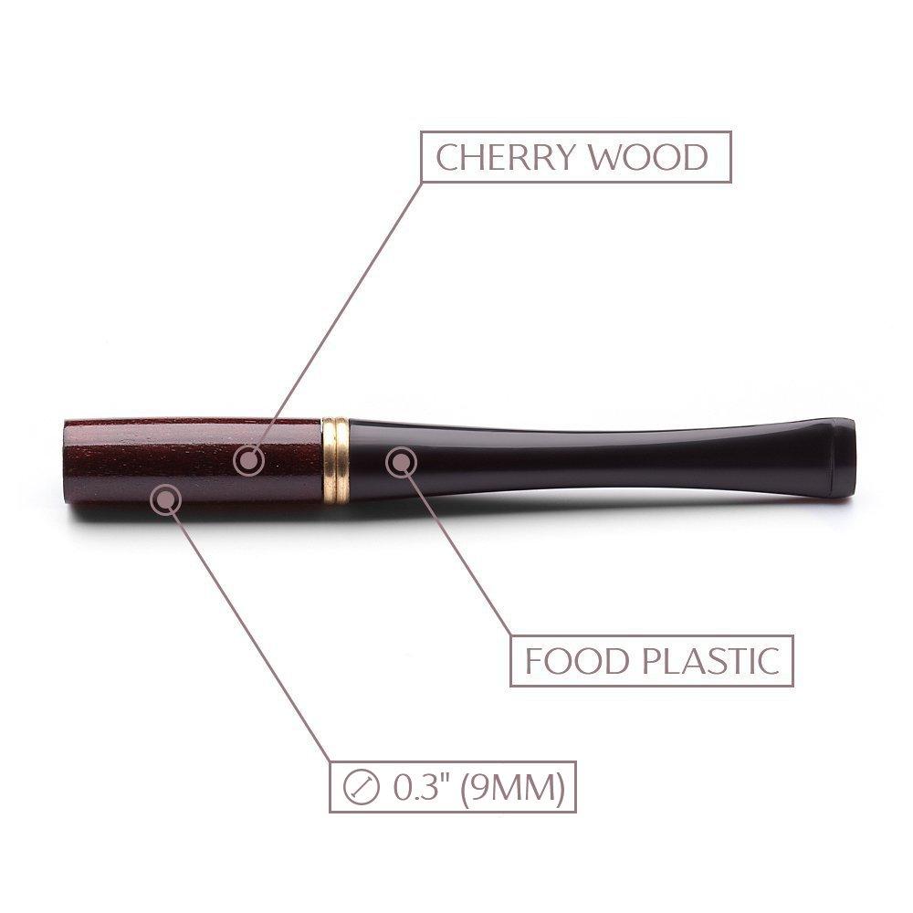Short Cigarette Holder handmade 3.6''/91mm - Smok Mouthpiece Cherrywood