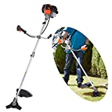42CC 2-Cycle 17-Inch 2 in 1 Straight Shaft Brush Cutter Dual Line Gas String Trimmer (Black)